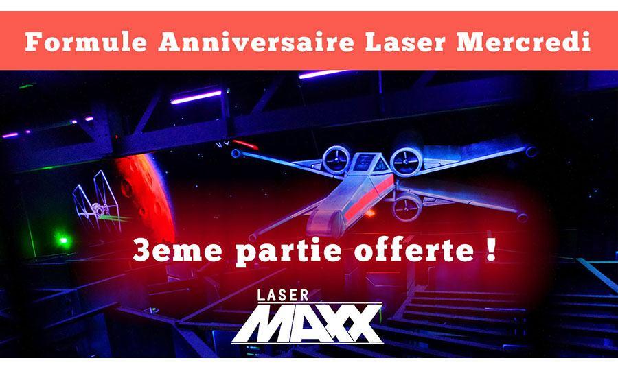 visuel Le mercredi la 3eme partie de lasergame est offerte pour la formule anniversaire enfants