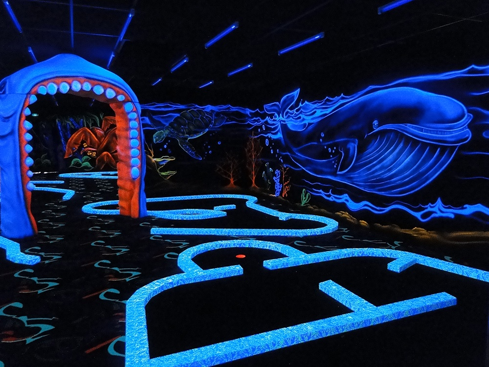 photo Arche requin + baleine Goolfy mini golf fluo